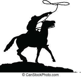 siluetas, vector, vaquero