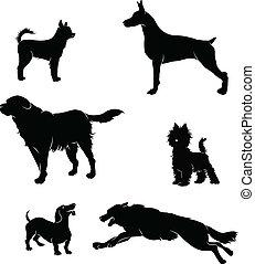 siluetas, vectors, perros