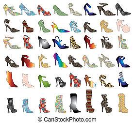 siluetas, zapato, 3