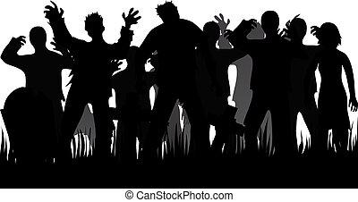 siluetas, zombies, lápidas