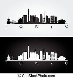 siluetta skyline, tokyo