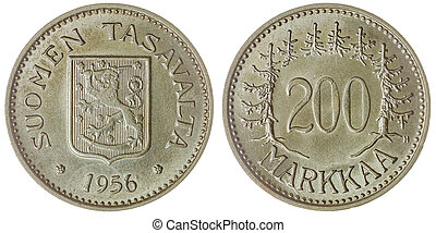 200 markkaa 1956 coin isolated on white background, Finland