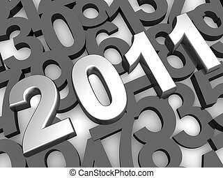 Silver 2011 year background - Silver 2011 year with...