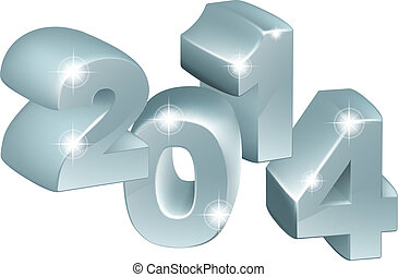 Silver 3D 2014 Ornaments - Illustration of 3D Silver 2014...