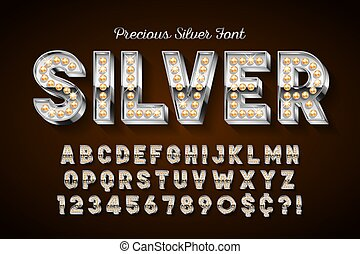 Silver 3d font with gems, gold letters and numbers.