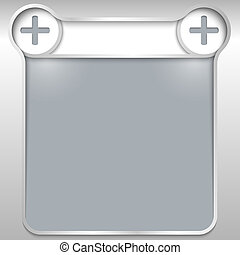 silver abstract text box with plus sign