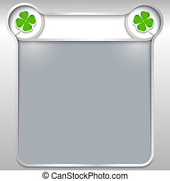 silver abstract text box with two cloverleaf