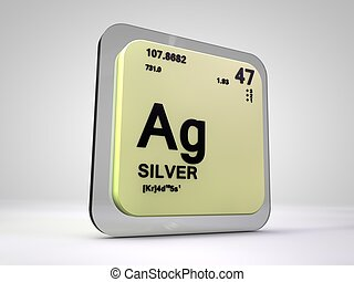 Silver - Ag - chemical element periodic table 3d render