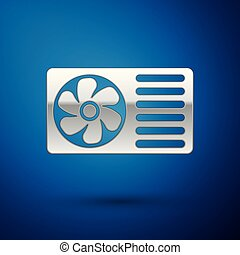 Silver Air conditioner with fresh air icon isolated on blue background. Split system air conditioning sign. Cool and cold climate control system. Vector Illustration