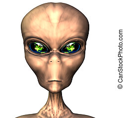 alien portrait with earth eyes isolated on white