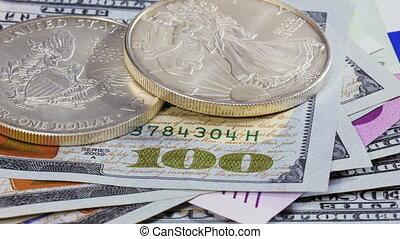 Silver American dollar coins