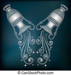 Silver amphora, zodiac Aquarius sign