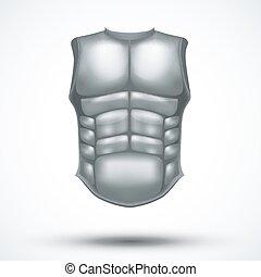 Silver ancient gladiator body armor. Vector Illustration...