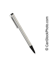 silver and black ballpen, isolated on white