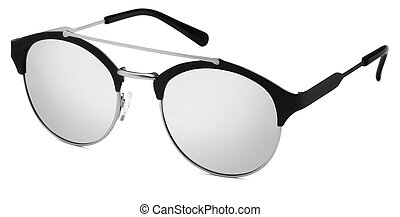 silver and black sunglasses argent mirror lenses isolated on...