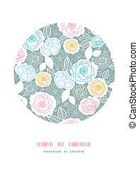 Silver and colors florals circle decor background
