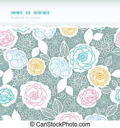Silver and colors florals horizontal torn seamless pattern background