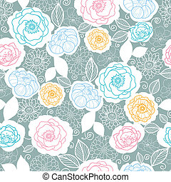 Silver and colors florals seamless pattern background -...