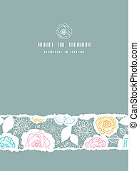 Silver and colors florals vertical torn seamless pattern background