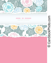 Silver and colors florals vertical torn frame seamless pattern background