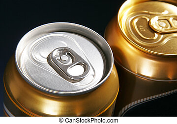 silver and gold aluminum drink can