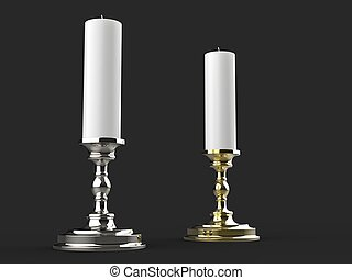 Silver and gold candle holders with white wax candles - low angle