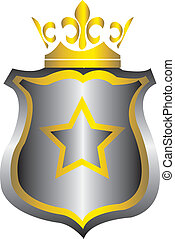 silver and gold emblem