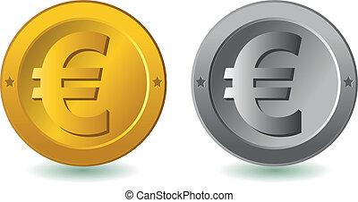 Euro coins. Vector illustration