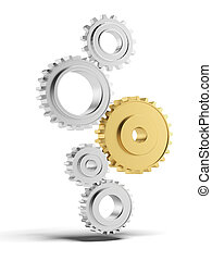 Silver and gold gears