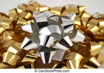 Gold and silver Christmas bows