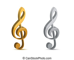 silver and gold musical clefs