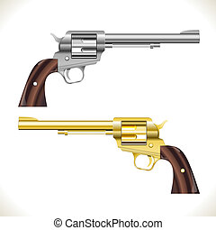 Silver and gold Vector Revolver Gun isolated on white