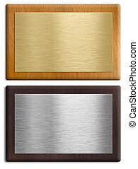 Silver and gold wooden plaques isolated on white set....
