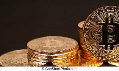Silver And Golden Bitcoin Cryptocurrency. Virtual Coins....