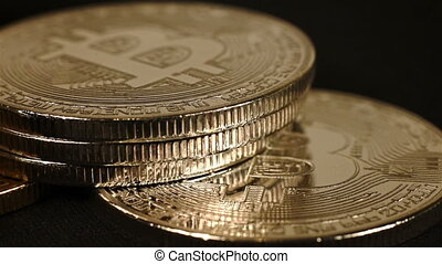 Golden Bitcoin Cryptocurrency - Silver And Golden Bitcoin...