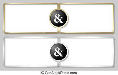 silver and golden text boxes with ampersand