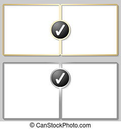 silver and golden text boxes with check box