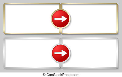 silver and golden text boxes with red arrows