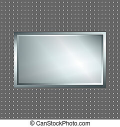 Silver and grey metallic sign
