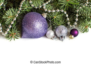 Silver and purple Christmas ornaments