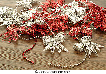 Silver and Red ribbon garland
