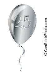 Silver Anniversary Balloon - A flyaway silver anniversary...