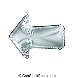 Silver arrow icon made of inflatable balloon isolated on white background. 3d rendering