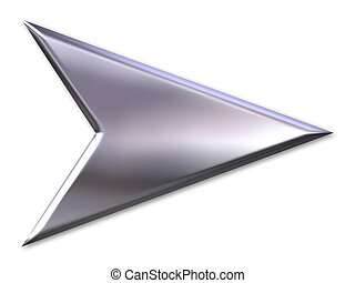 Silver arrow with glowing effect pointing out the direction or an entrance