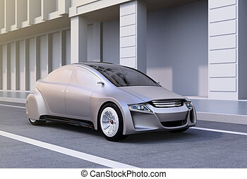 Silver autonomous car on the road. 3D rendering image.