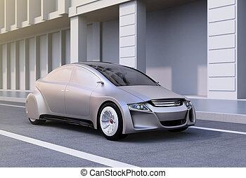 Silver autonomous car on the road. 3D rendering image.