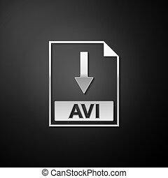 Silver AVI file document icon. Download AVI button icon ...