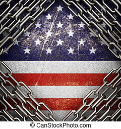 silver background painted to US flag