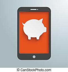 Silver Background Smartphone Piggy Bank