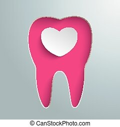 Silver Background Tooth Hole Heart